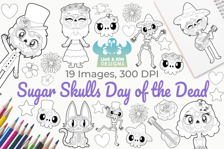Sugar Skulls Day of the Dead Digital Stamps