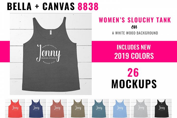 Bella Canvas 8838 Mockup Bundle, Womens Slouchy Tank Top