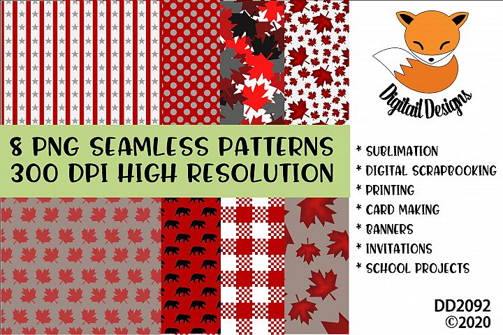 Canadian Theme Seamless Patterns Digital Paper Pack