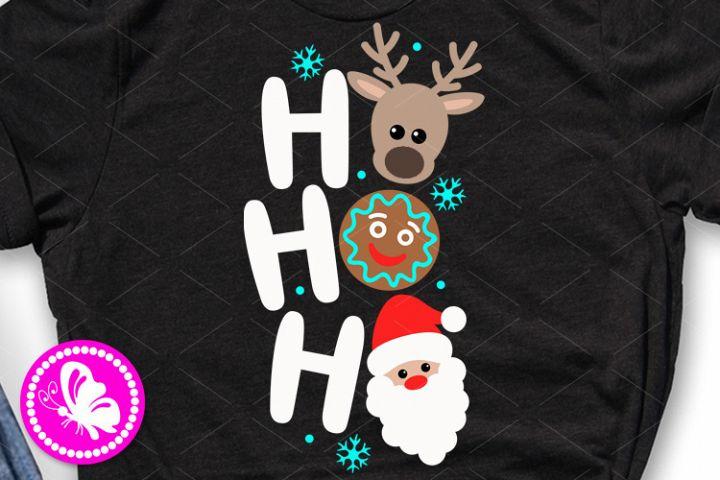 Ho ho ho svg Christmas shirt Deer face Cookie Santa clip art