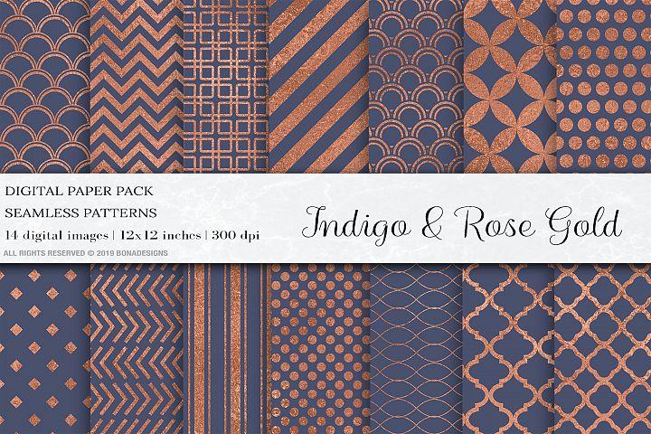 Rose Gold Indigo Blue Digital Papers, Rose Gold Patterns