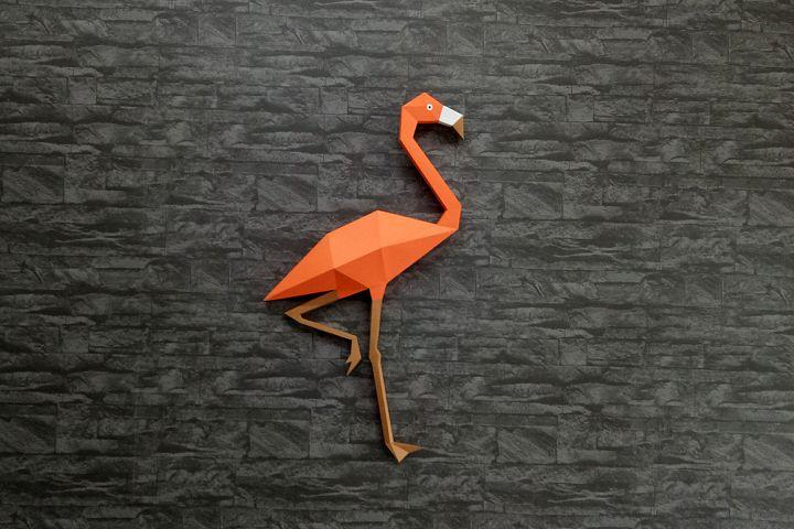 DIY Flamingo Wall decor - 3d papercraft