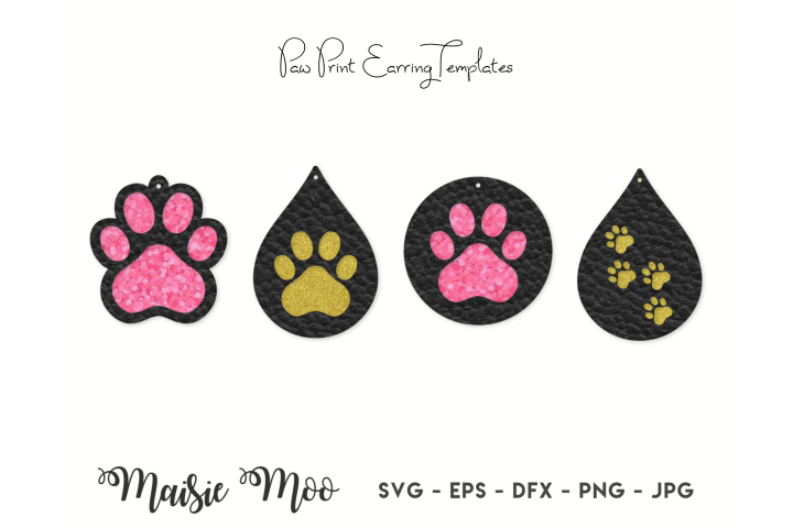Paw Print Earring SVG | Faux Leather Earring Templates