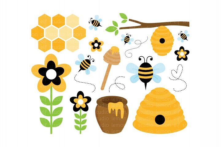 Sweet Honey Bees-Digital Clipart (LES.CL54)