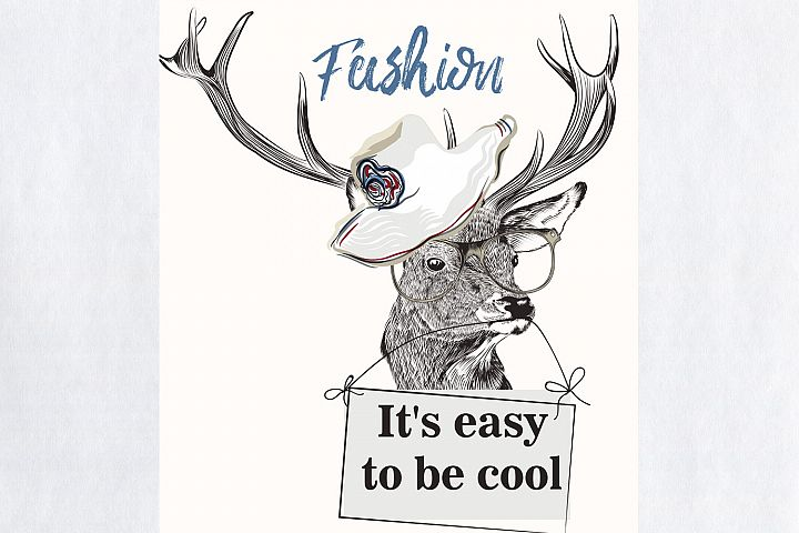 Fashion illustration with stylish trendy deer in glasses