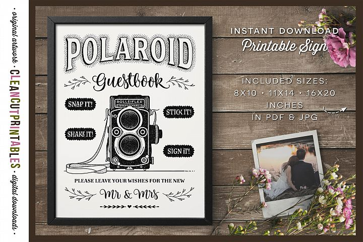 Wedding Polaroid Guestbook Sign - digital printable PDF JPG