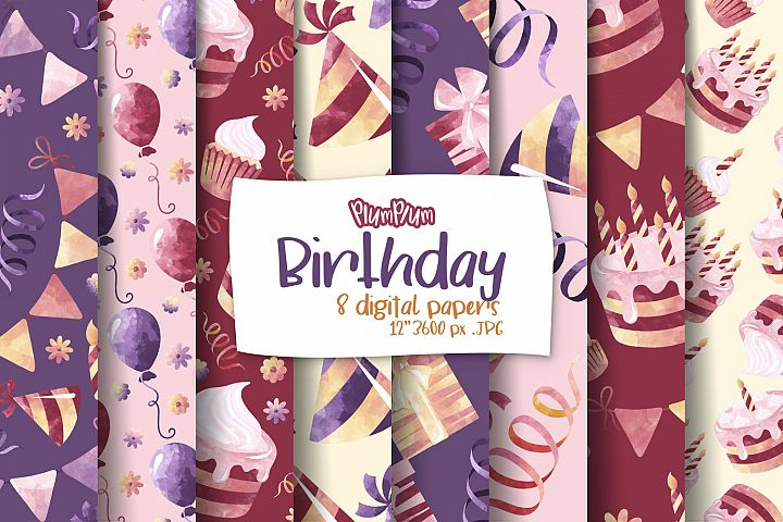 Birthday Digital Papers