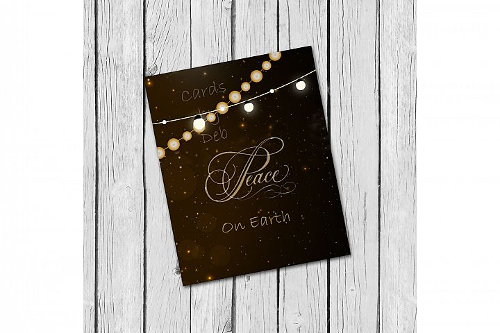 Digital Christmas Card, Printable Digital Christmas Card, Gold Peace on Earth Card, Black and Gold Christmas Card, Happy Holidays Card, Instand Download Card Description Jennings Crafters Card Making