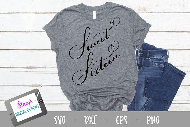 Sweet Sixteen SVG - Handlettered cut file