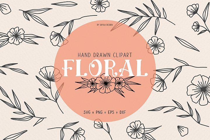 Floral svg clipart illustration flourish wreath
