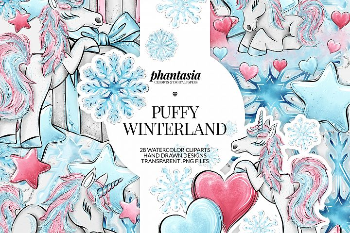 Winter Unicorn Cliparts
