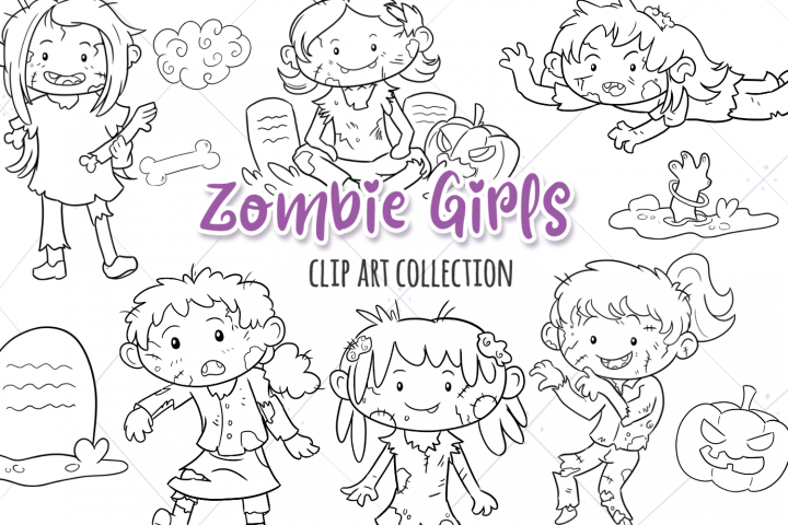 Zombie Girls Digital Stamps