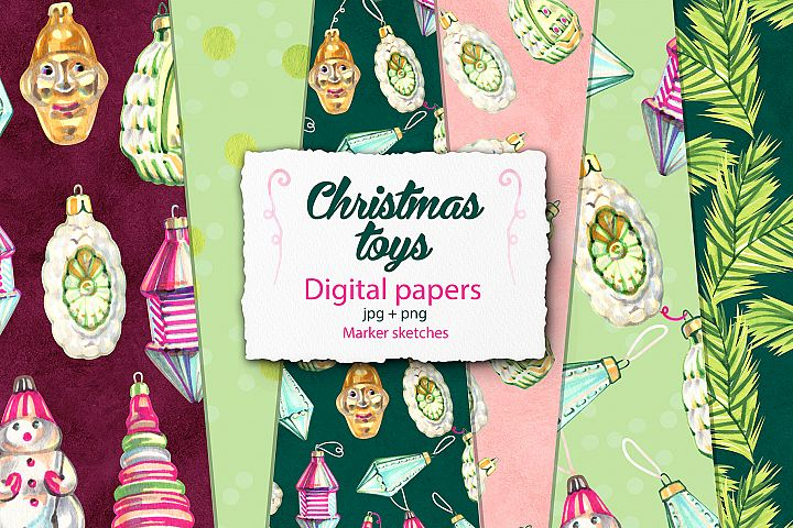 Christmas toys digital papers