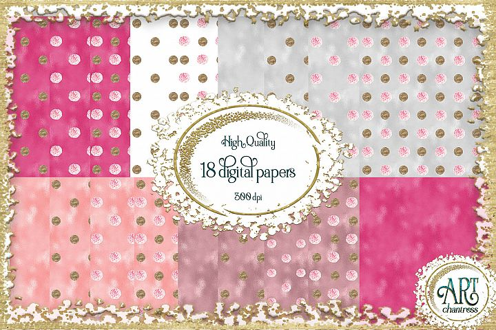 Glitter digital paper-pink,white,gold-digital textures JPEG