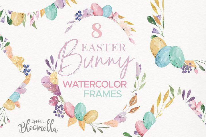 Easter Eggs Frames Watercolor Floral Border Flowers Pastels