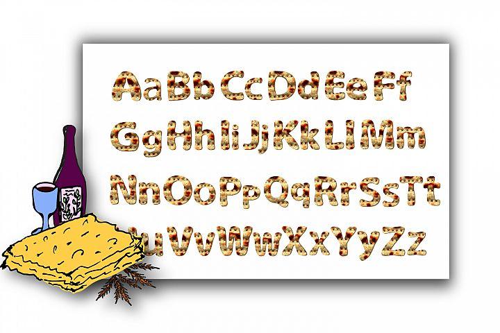 Alphabet English with matzo texture. Font matzah. Graphic