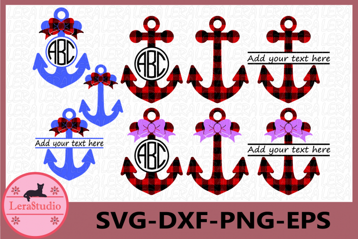 Anchor SVG Files, Anchors Buffalo Plaid Svg, Dxf, Png, Eps