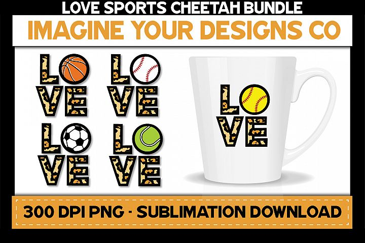 Love Sports Cheetah Sublimation Bundle, Baseball, Basketball