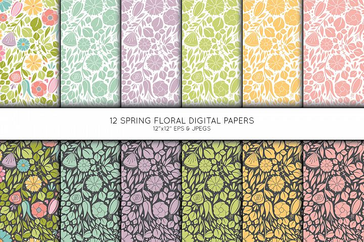 Floral Digital Paper, Flower Seamless pattern, Scrapbook