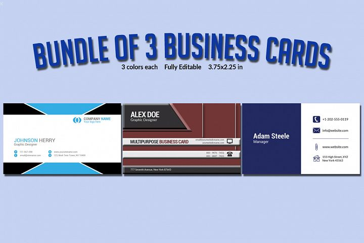 Bundle of 3 Business Card Templates