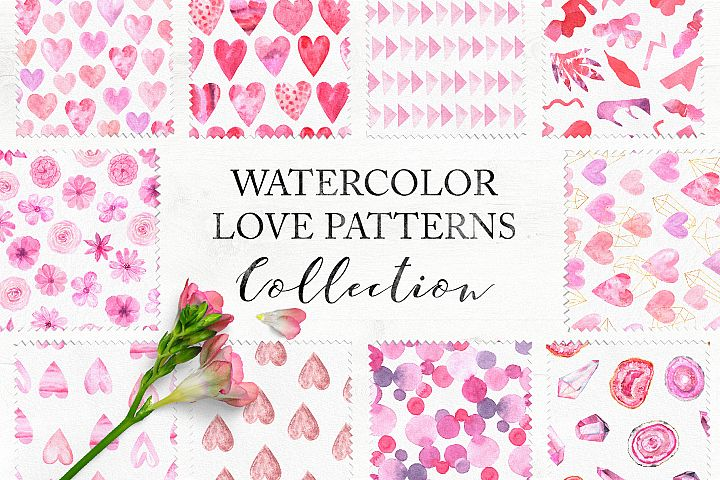 15 Watercolor Love Seamless Patterns
