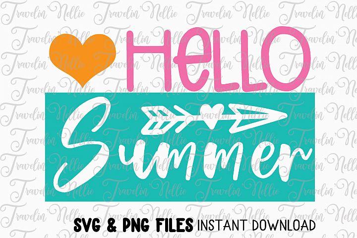 Hello Summer SVG Cut File Cricut Silhouette Quote