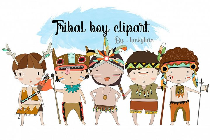 Tribal boy , boy Clipart Instant Download PNG file - 300 dpi