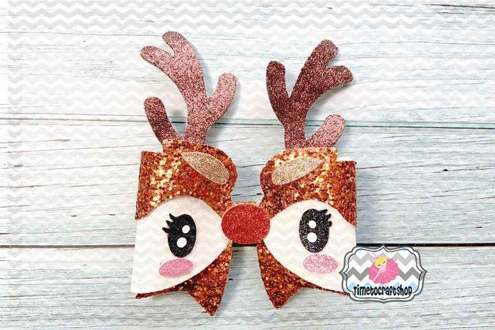 Holiday Christmas Deer Bow Template, Reindeer Antlers Bow,