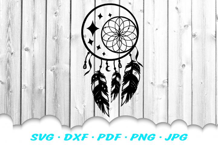 Dream Catcher Celestial Feathers SVG DXF Cut Files