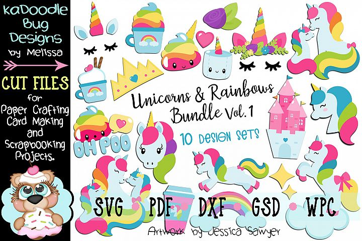 Unicorns and Rainbows Bundle Set Vol.1 - 10 Cut File Designs