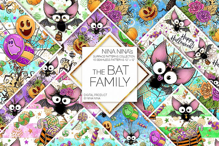 Cute Halloween Seamless Patterns, Bats Digital Papers Pack