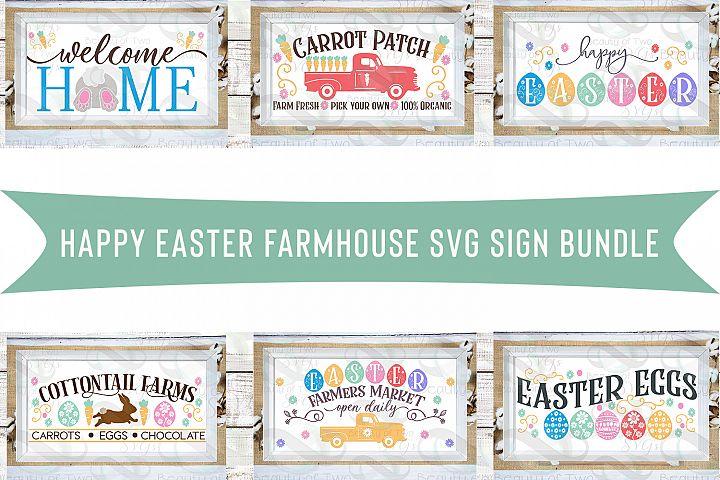 Farmhouse Easter svg cut files Sign Bundle, 6 Easter svg