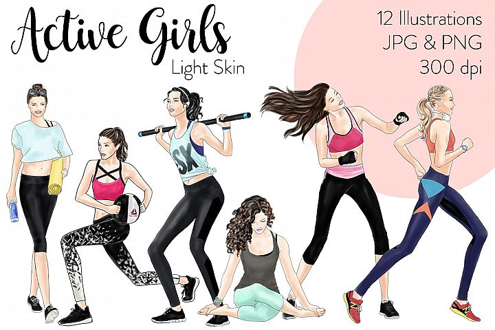 Fashion illustration clipart - Active Girls - Light Skin