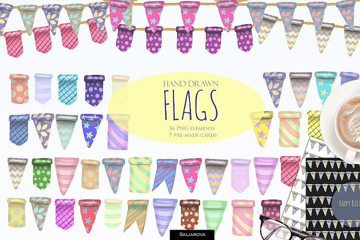 Flags clip art. 54 elements & cards.