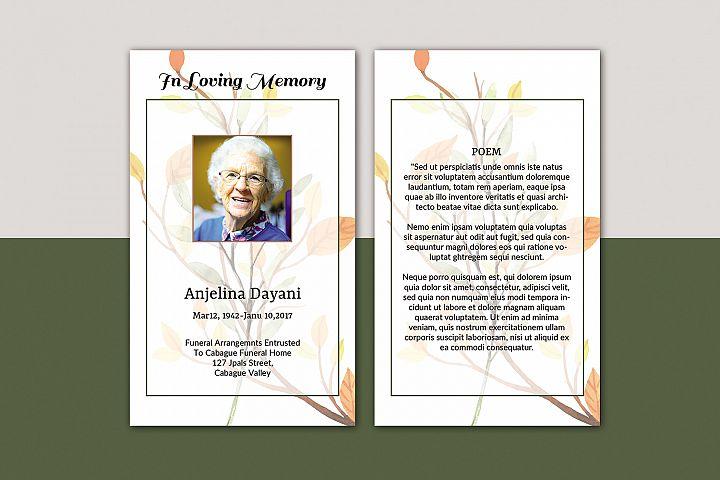 Memorial Funeral Prayer Card Template