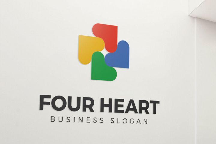 Four Heart Logo Template