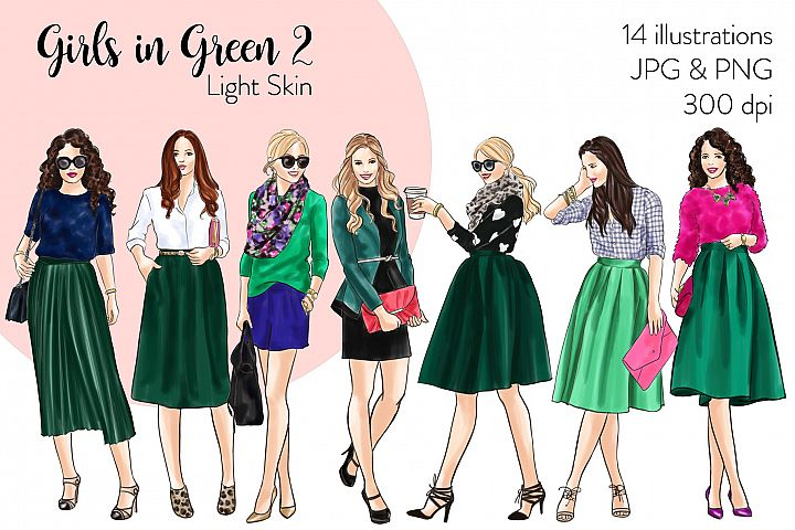 Fashion illustration clipart - Girls in Green 2 - Light Skin