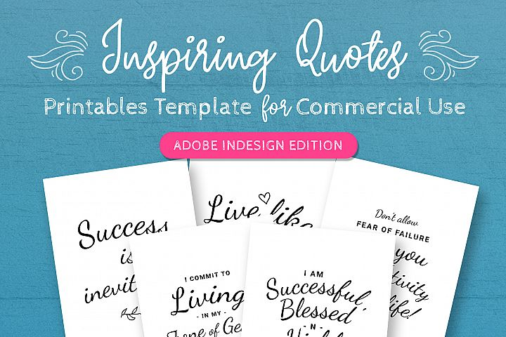 Inspiring Quotes Printables InDesign Template For Commercial