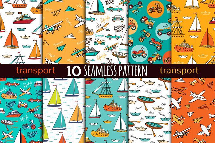 10 transport seamless pattern