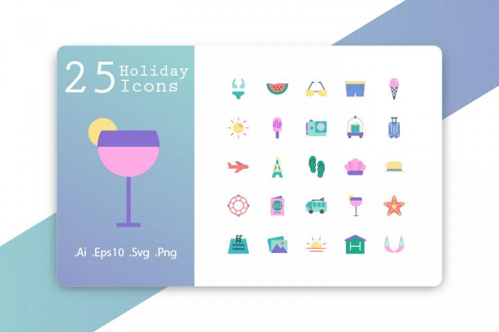 25 Holiday Icons Flat Design