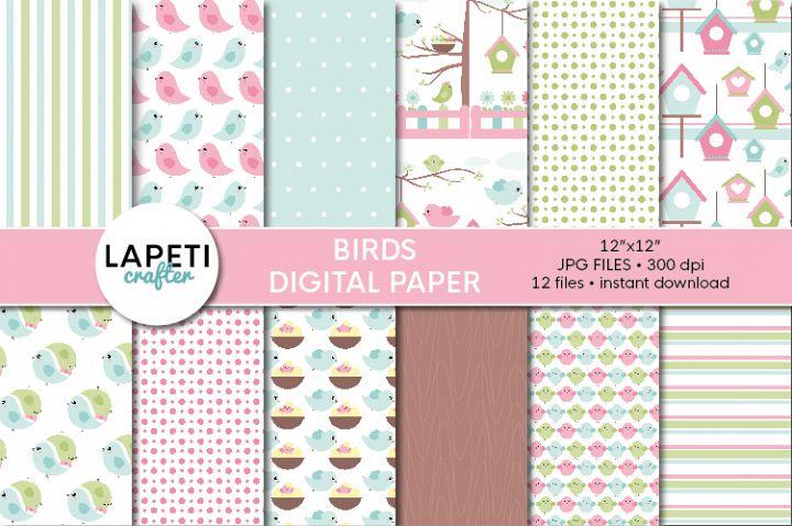 Birds digital paper, 12x12 spring Digital Scrapbook Paper