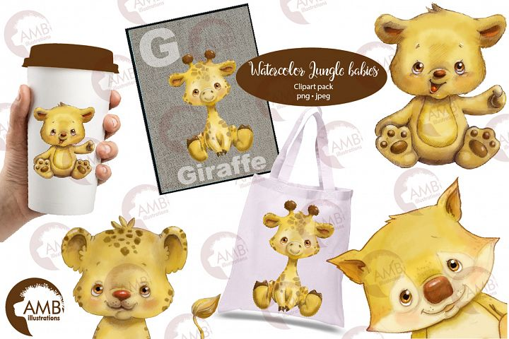 Jungle Babies watercolor clipart AMB-2285