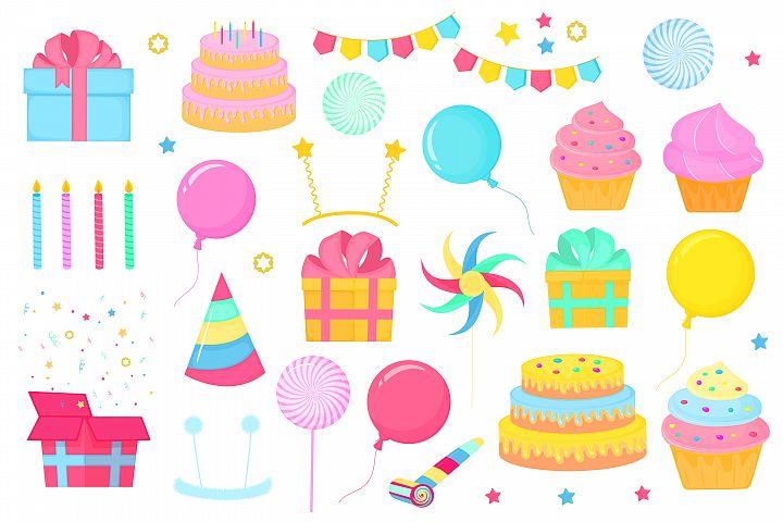 Birthday set of decorative elements