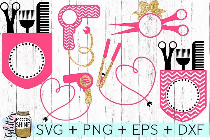 Hairstylist Monogram Frames SVG DXF PNG EPS Cutting Files
