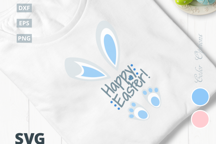 Happy Easter Bunny SVG Cut File. Two Color Options: pink & blue|SVG |DXF |EPS |PNG