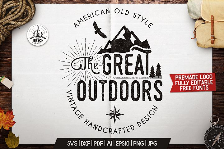 Great Outdoors Logo, Retro Camping Badge Template SVG Cut