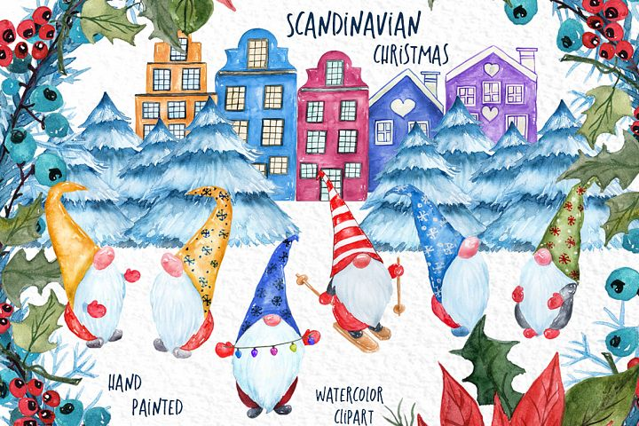 Watercolor Scandinavian Gnome, Christmas clipart