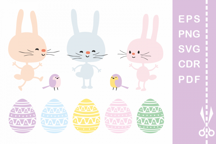 Funny Easter bunnies. Vector cliparts and cutting files