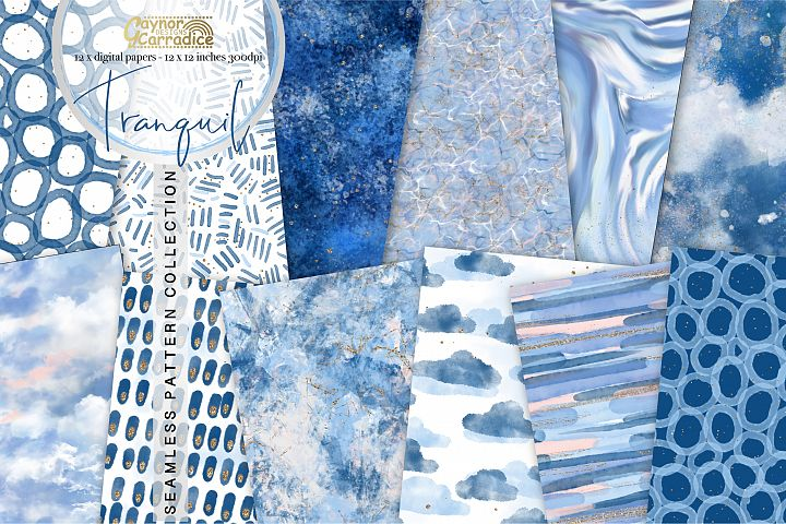 Tranquil - Blue texture seamless patterns