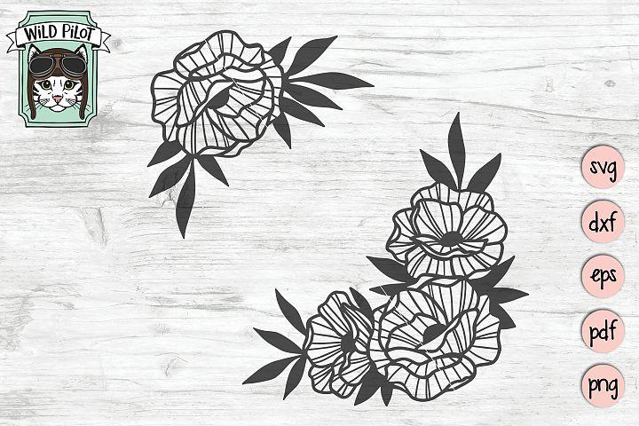 Flowers SVG file, Flower Corner svg, Floral cut file, Frame